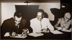 Marshal Tito, Egypt's Nasser and India's Nehru signing the Brioni declaration in 1956