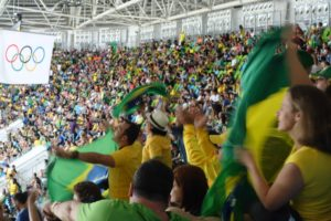 Brazil's basketball fans cheer their team to narrow victory over Spain