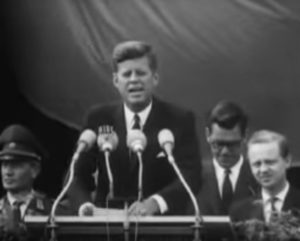 Master of punchy calls to action: John F. Kennedy in Berlin.